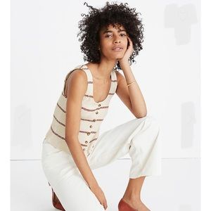 Madewell Ribbed Button Front Tank Top in Stripe